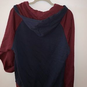 Men's sweater varsity style button up red and blue